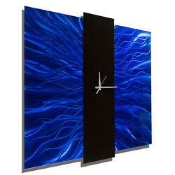 Modern Blue Metal Wall Clock - Handcrafted Abstract Metal Wall Art by Jon Allen