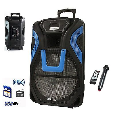 """BEFREE 15"""" BLUETOOTH RECHARGEABLE PA DJ PARTY SPEAKER SYSTEM LIGHTS and MIC NEW"""