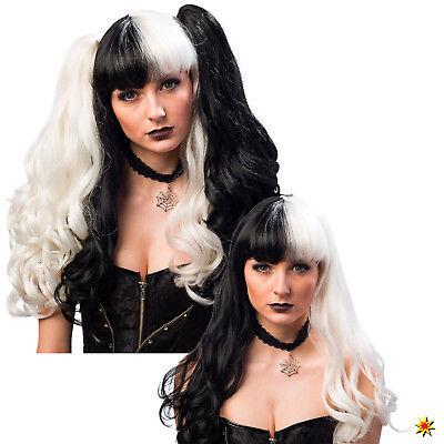 Damenperücke mit abnehmbaren Ansteckhaaren schwarz-weiß Harlekin Fasching Karnev
