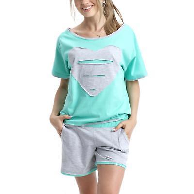 Nachtwäsche Pyjama Top (Damen Shorty Pyjama Kurzer Schlafanzug 100% Baumwolle Nachtwäsche Set Top Shorts)