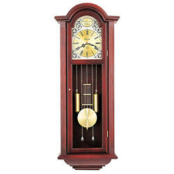 Bulova Clocks C3381 Tatianna Wooden Mahogany 3 Tune Musical Chiming Wall Clock