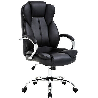 High Back Pu Leather Executive Office Desk Task Computer Chair Wmetal Base O18