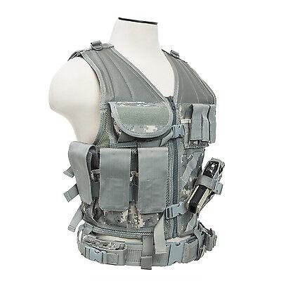 NcSTAR CTV2916D PVC Military Tactical Heavy Duty Vest w/ Pistol Holster DIG ACU