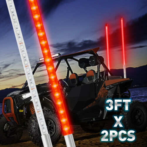3FT LED Whip Light Road Vehicle Truck Jeep Multicolor LED Antenna Whips Flagpole Lamp with Remote Control for UTV ATV Polaris RZR Off