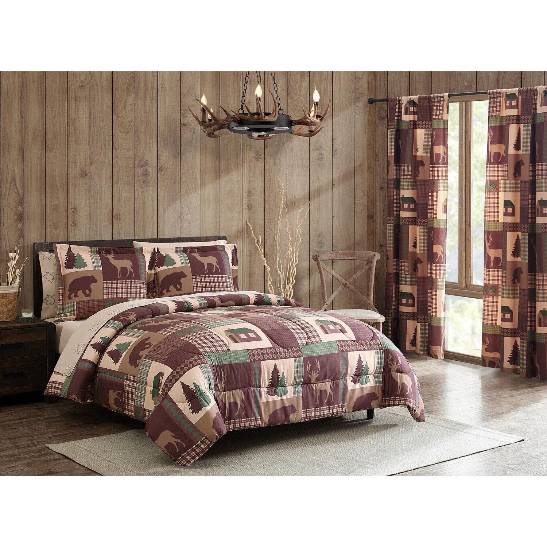 Rustic Cabin Comforter Bed in a Bag Set with Deep Pocket Sheets Bear Deer Lodge Bed-in-a-Bag