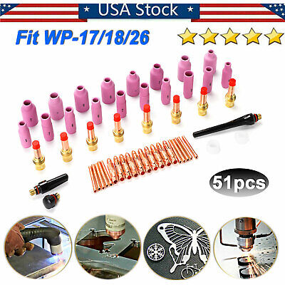 51pcs Tig Welding Torch Gas Lens Collet Body Consumables Kit Fit Wp-171826 Usa