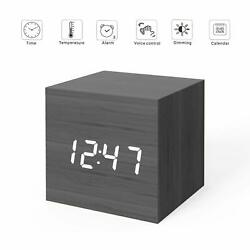 MiCar Digital Alarm Clock Wood LED Light Mini Modern Cube Desk Alarm Clock