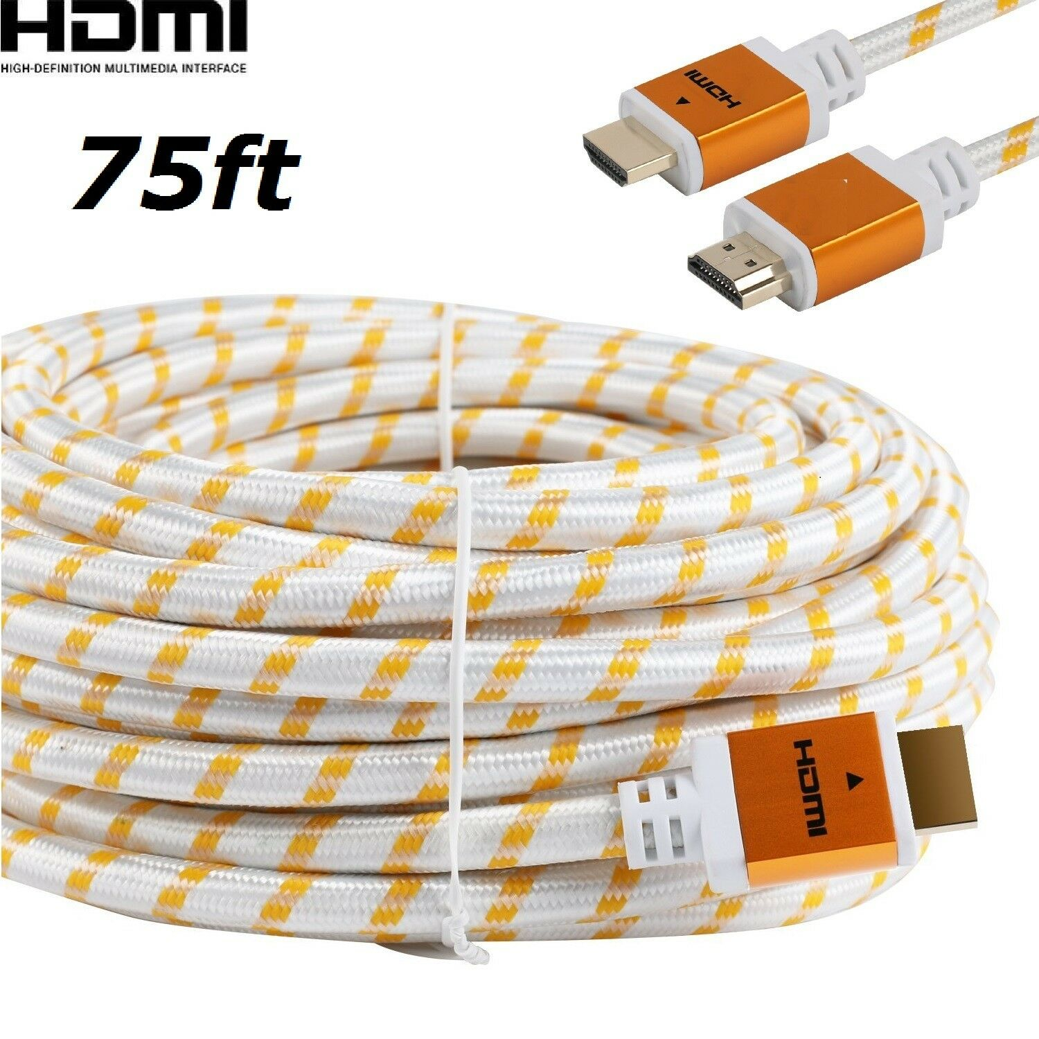 PREMIUM 75feet HDMI CABLE Cord 75FT For BLURAY 3D DVD XBOX PS4 HDTV 1080P White Consumer Electronics