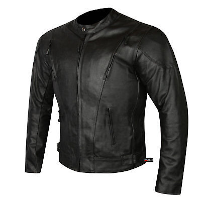 HIGHLY VENTILATED MOTORCYCLE LEATHER CRUISER ARMOR TOURING JACKET FOR MEN - Mens Leather Cruiser