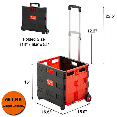 Shopping Cart Collapsible Basket Folding Trolley 2-wheel Rolling Plastic Picnic