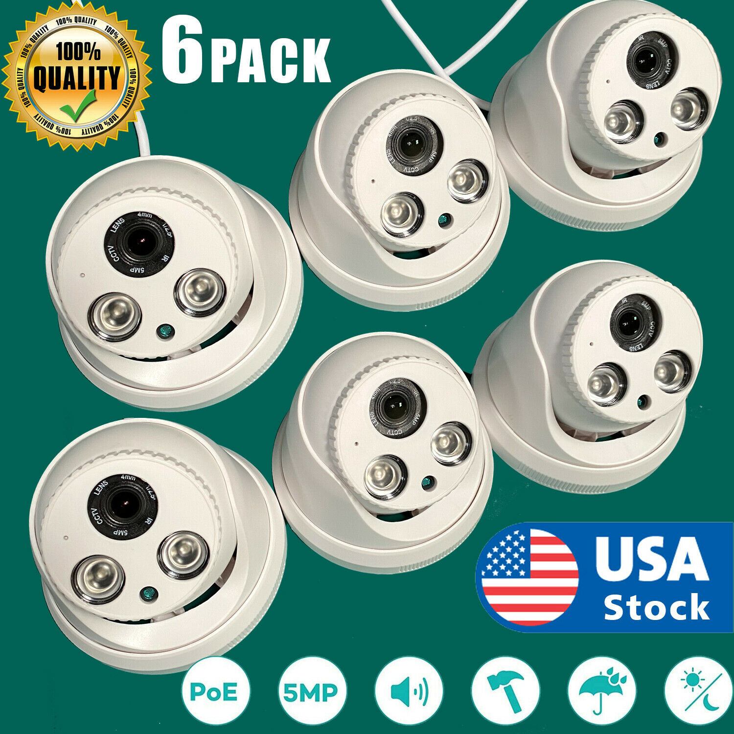 6Pack 5MP IR outdoor POE Dome IP CCTV Security Camera 4mm H.265 NVR Night Vision Consumer Electronics