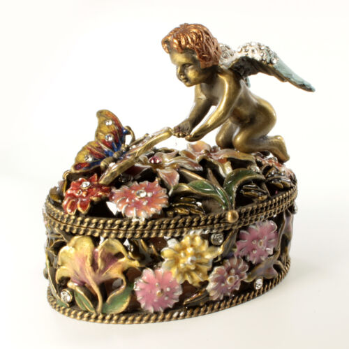 Bejeweled Cherub And Butterfly Trinket Box, Figurine With Crystals Antique Brass
