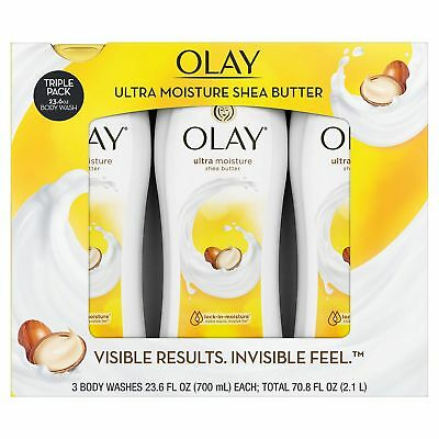 3 Bottles Olay Ultra Moisture Body Wash Womans 3 Pack 23 6 Fl Shea Butter