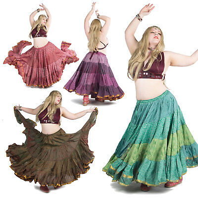 Plus Size Gypsy Bellydance Skirt, XL Tribal Fusion Clothing, Hippy 25 Yard - Plus Size Belly Dance Clothes