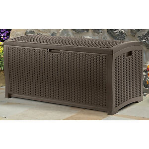 Suncast 99 Gallon Mocha Wicker Resin Deck Box Outdoor Patio Cushion Storage NEW!