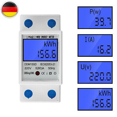 Digital LCD-Anzeige Stromzähler 1-Phase Energiezähler KWh Meter Für DIN-Schienen