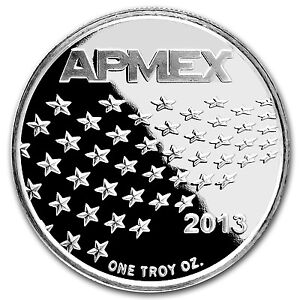2013 1 oz APMEX Stars and Stripes Silver Round