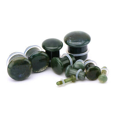 (Pair of Moss Agate Semi Precious Stone Single Flare Domed Plugs with O Rings)