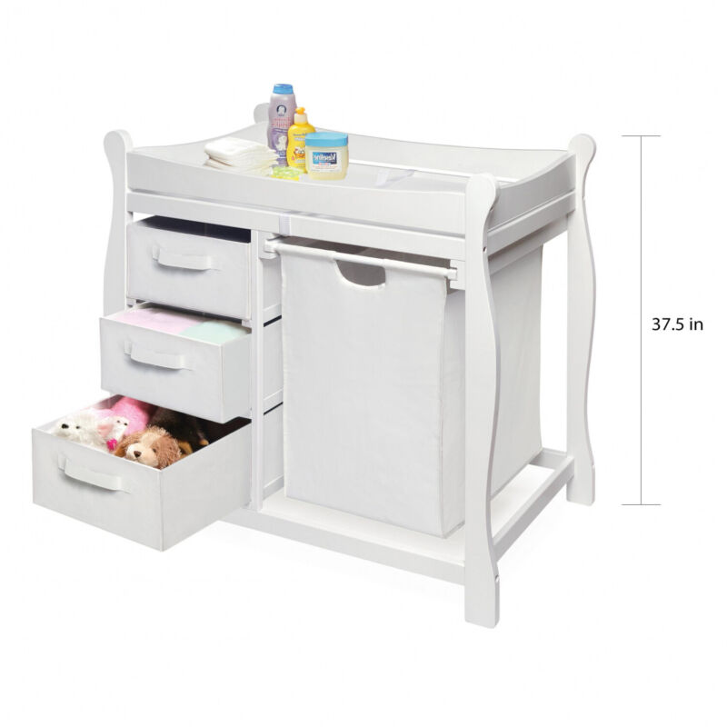 White/White Changing Table W/ Hamper +3 Baskets Pad Included Nursery Room