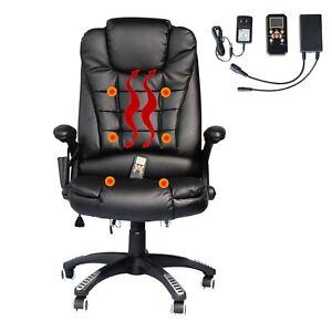 Massage Chaise de Bureau Chauffée Deluxe - Noir