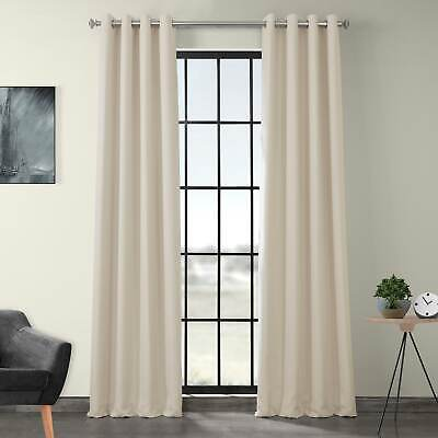 Grommet Faux Linen Blackout Curtains
