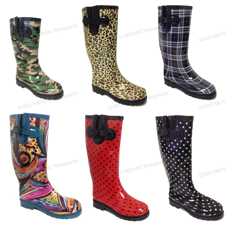 Women's Rain Boots Colors Festival Mid Calf Wellie Rubber Fu
