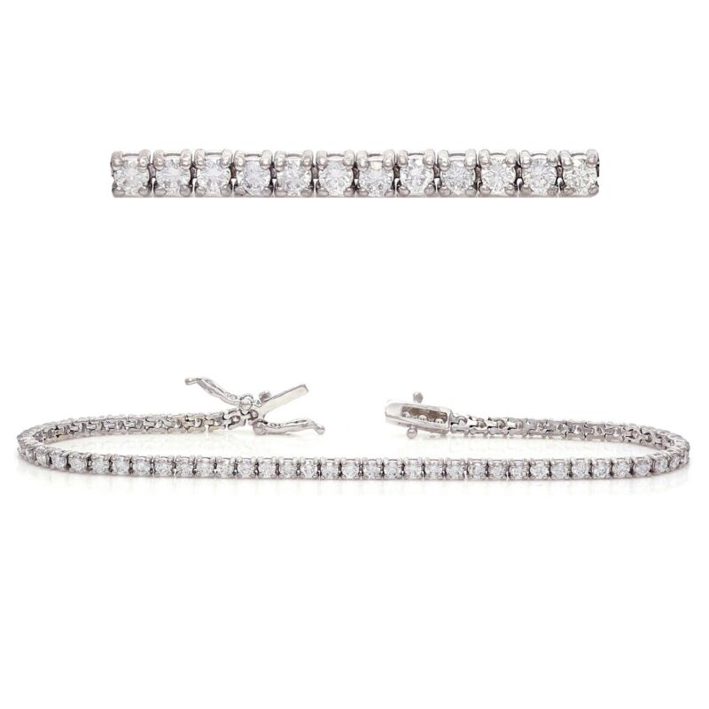 "14k White Gold 3ctw Diamond Classic Light-Weight Tennis Bracelet 7"""