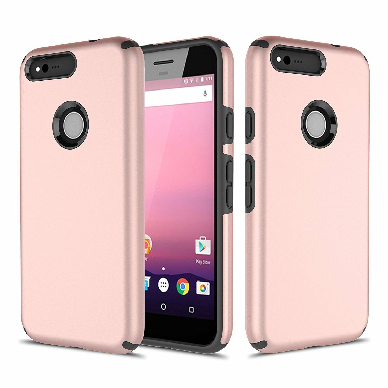 Google Pixel Case, Hard Impact Dual Layer Shockproof Bumper Silicone Case