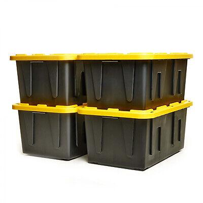 Heavy Duty Plastic Storage Organizer 27 Gallon Container Tough Tote Box Set Of -