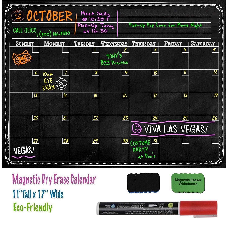 16 x 12 Magnetic Dry Erase Refrigerator Calendar Board Month