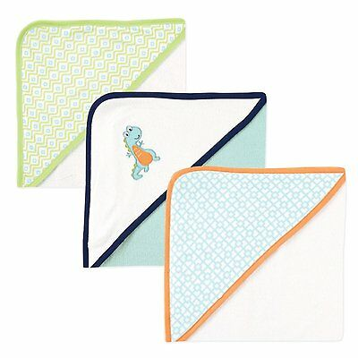 """LUVABLE FRIENDS BABY BOYS 3 PACK HODDED TOWELS SIZE 30"""" x 30"""" COTTON DINO NEW"""