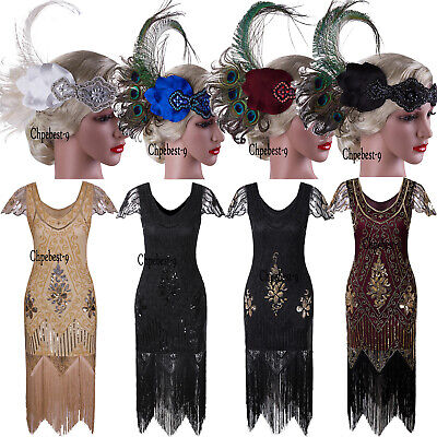 1920s Themed Party Dress (1920s Flapper Dress Vintage Gatsby Theme Cocktail Party Wedding 20s Evening)