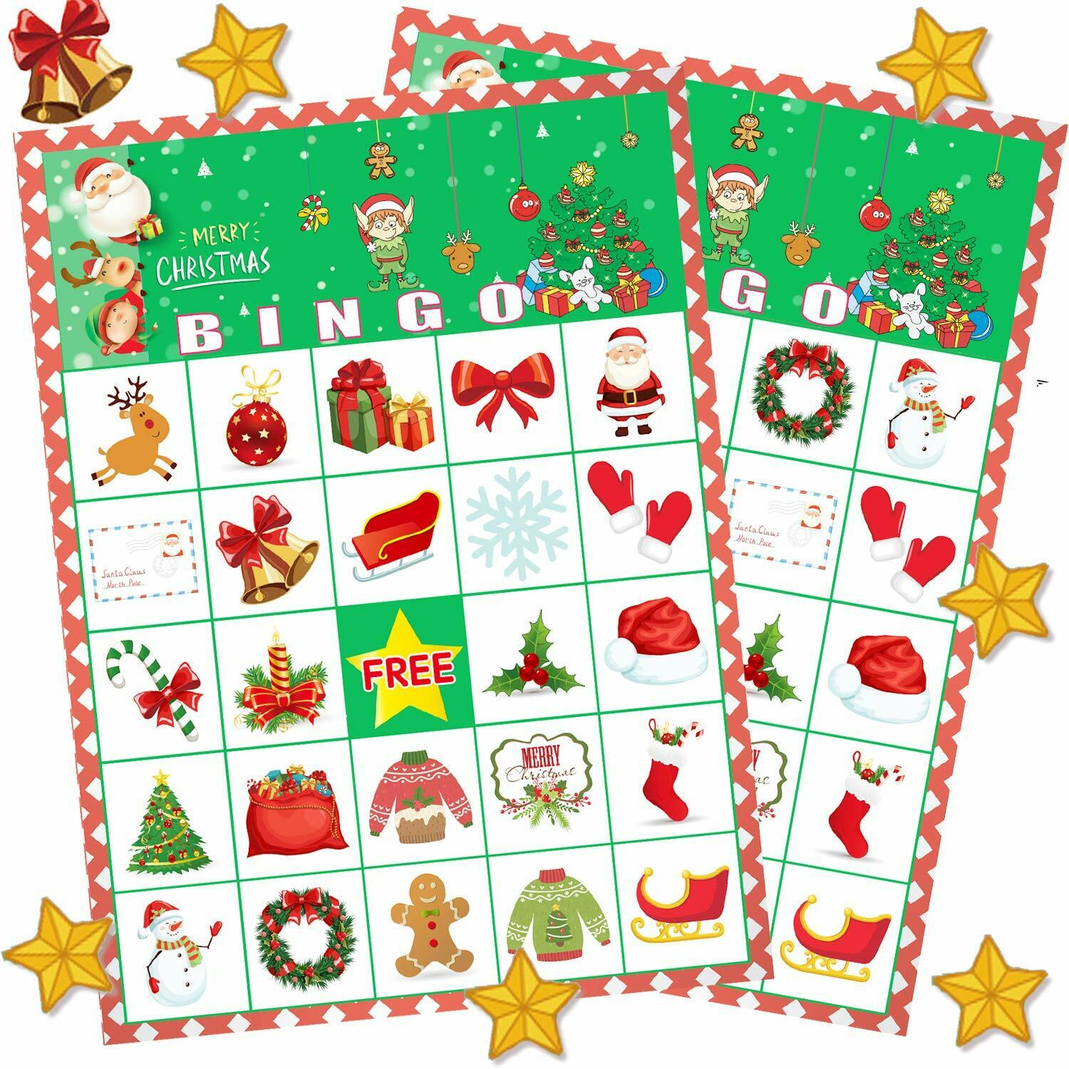 Christmas Bingo Game for Large Group Party Games for Kids 24