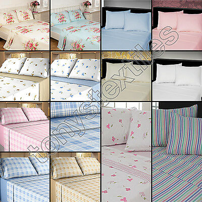 THERMAL 100% BRUSHED COTTON FLANNELETTE BEDDING SHEET SET FITTED FLAT PILLOWCASE