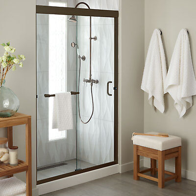 "48"" Brackett Sliding Shower Door With 48"" x 34"" Tray Oil Rubbed Bronze"