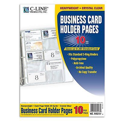 Avery C Line Clear Business Card Holder 200 Capacity For Binder 8 1 8 X 11 1 4