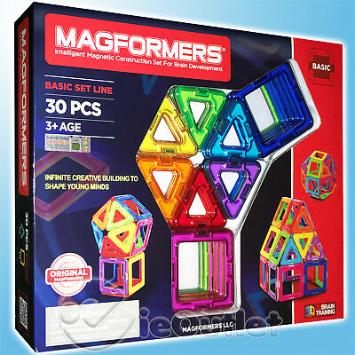 BRAND NEW MAGFORMERS 30-PIECE BASIC MAGNETIC CONSTRUCTION SET BLUE GREEN -