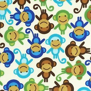 Robert Kaufman Cotton Fabric. Urban zoologie Monkey, Monkeys. By the FQ
