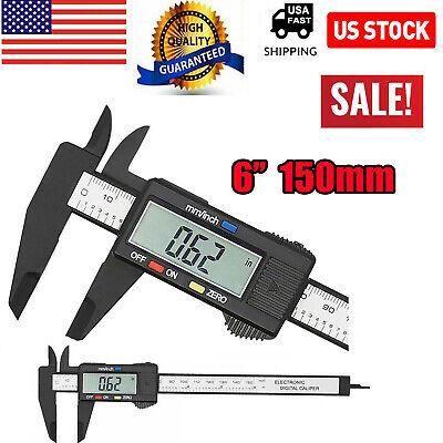 6 150mm Carbon Fiber Electronic Digital Vernier Caliper Micrometer Guage Lcd Us
