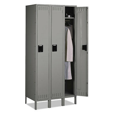 - Tennsco Single Tier Locker with Legs Three Units 36w x 18d x 78h Medium Gray