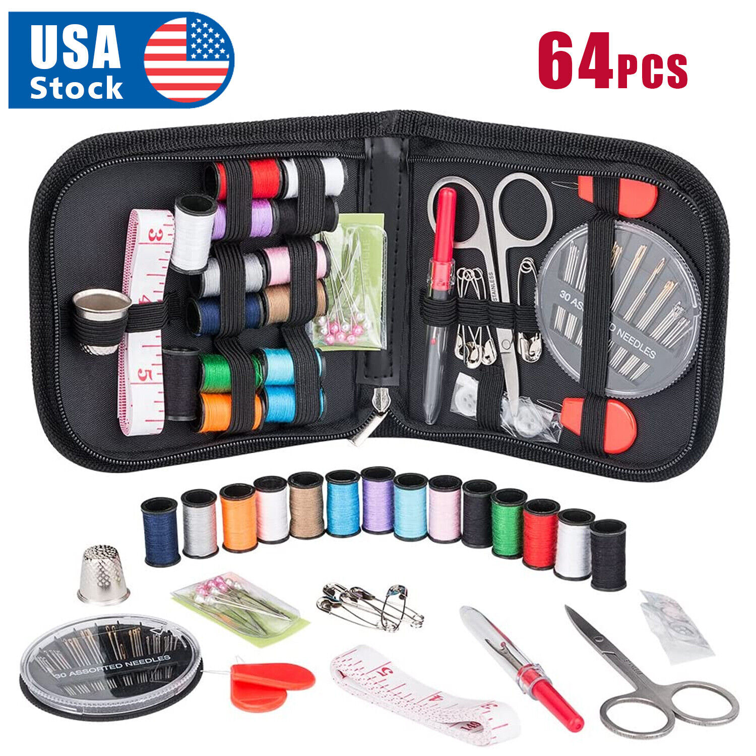 64Pcs Home Travel Thread Threader Needle Tape Measure Scissor Sewing Kit Collectibles