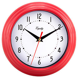 25021 Equity by La Crosse 8 Plastic Analog Wall Clock - Red