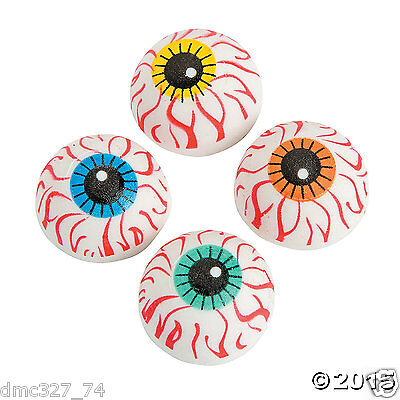 12 HALLOWEEN Haunted House Party Favors Pinata Fillers MINI EYEBALL Erasers - Pinata Party Halloween