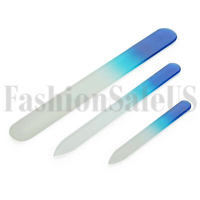 (3pcs Double Sided Crystal Glass Nail Files Manicure Finger Pedicure File Tool)