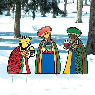 Christmas Outdoor Yard Decorations Nativity Scene Three Wise Men Kings Set  ()
