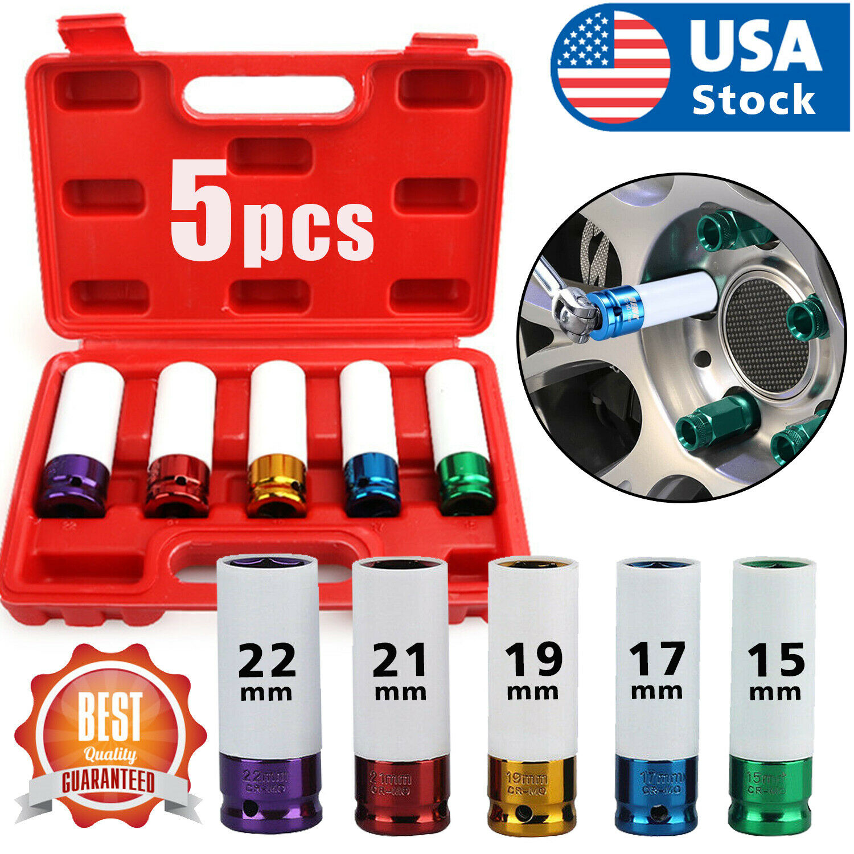 5/Set 1/2″ Lug Nut Socket Impact Socket Set Thin Wall Socket Wheel Protector Set Automotive Tools & Supplies