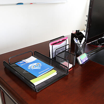 Metal Mesh Office Desk Organizer Pencil Card Holder Accessories Black Set Of 5