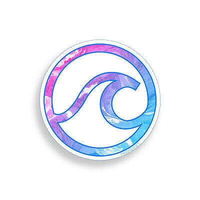 Circle Beach Ocean Sticker Pink Blue Sea Wave Laptop Cup Cooler Car Window Decal - Ocean Blue Car
