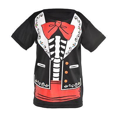 Kinder Jungen Tag der Toten Señor Skelett T-Shirt Halloween Kostüm