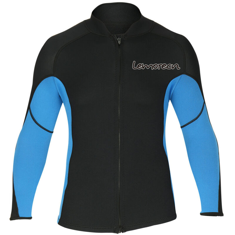 Men Wetsuits Jacket Long Sleeve Front Zip Neoprene Wetsuits Top for Diving Kayak